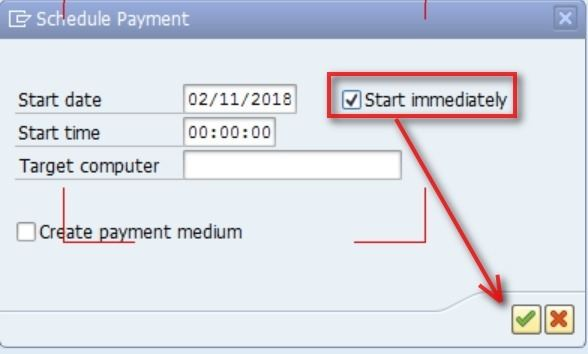 You will then see a message on the left of the screen which shows that the payment run is running.