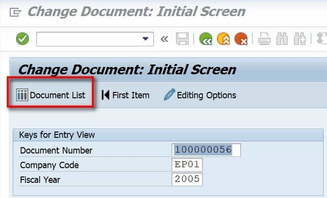 Once you enter the document info, you will see your document. Make sure that you are in change mode.