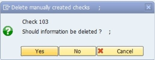 You will get a message check number xxxxx successfully deleted.