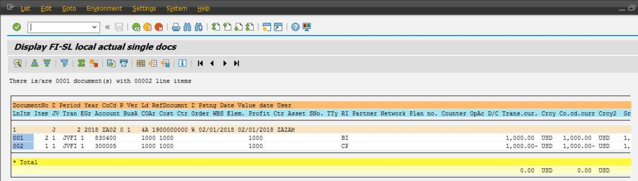 Another way of looking at this info is to run tcode GJ97 ot GJ97N. In this tcode, we can look at the FI document and the JV document on the same screen. This is a very good way to understand a posting. Access through the menu path below or through GJ97N.