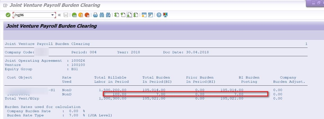 SAP calculated the 7% that was assigned to the JOA Once everything looks good, check the boxes for update and keep batch input session and execute the tcode. and then process the batch input session created in SM35.