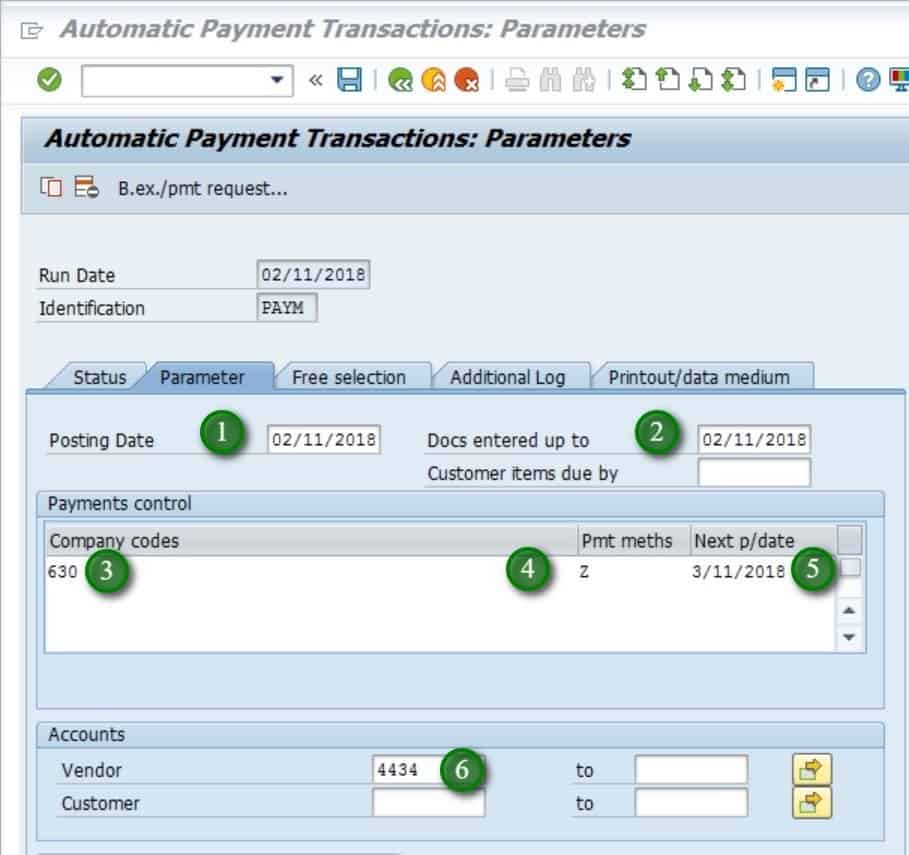 Free selection tab- Next, we have the free selection tab.  This is where we can restrict the payment or only pay based on certain criteria.  E.g. if we only want to pay certain document number, we can enter that in the free selection screen. There are many other fields that can be used in the free selection tab.