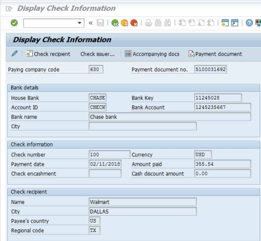 This shows that your check was created correctly and it is linked to the payment document number.