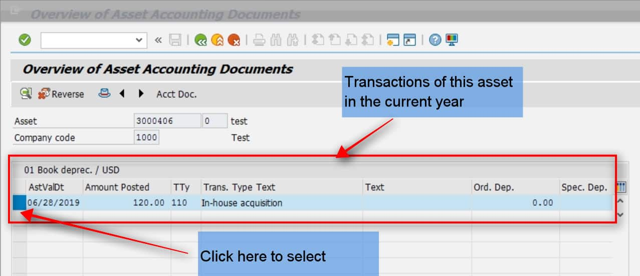 Select the transaction by clicking the left and then click on the reverse icon