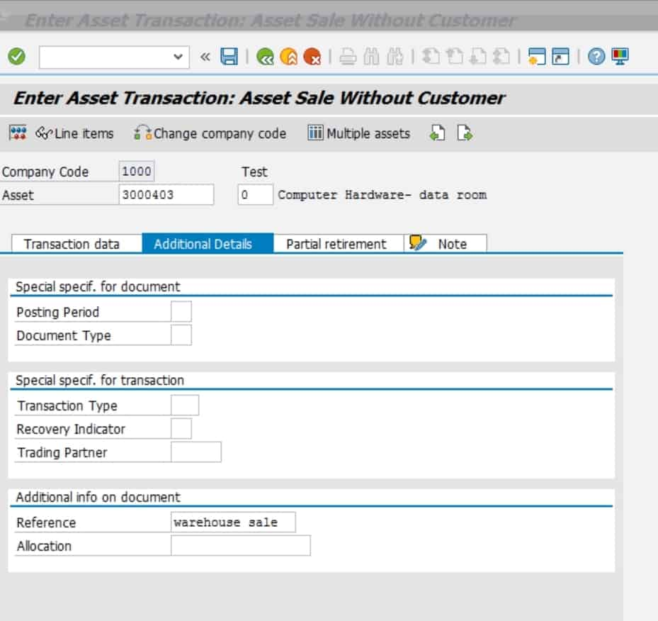 The additional details tab is used to store any other info that might be helpful to explain this transaction.