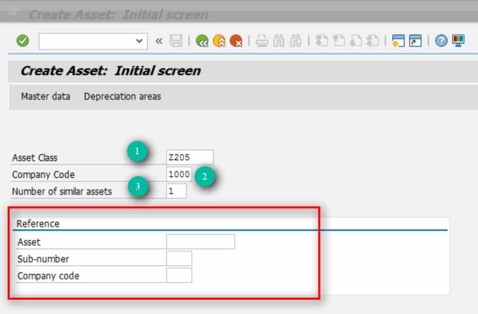 1- Asset Class- Enter the Asset class under which you want to create this Asset. 2- Company Code- Enter the company code under which this asset should be created. 3- Number of similar Assets-This is usually left as 1. SAP will create the number of assets you specify in here. E.g. if you want to create 10 assets and all the info is the same except maybe a small change in description, enter 10 in here and then go back in and change the description through As02.  The reference section is used if you want to create an asset by copying from another asset.