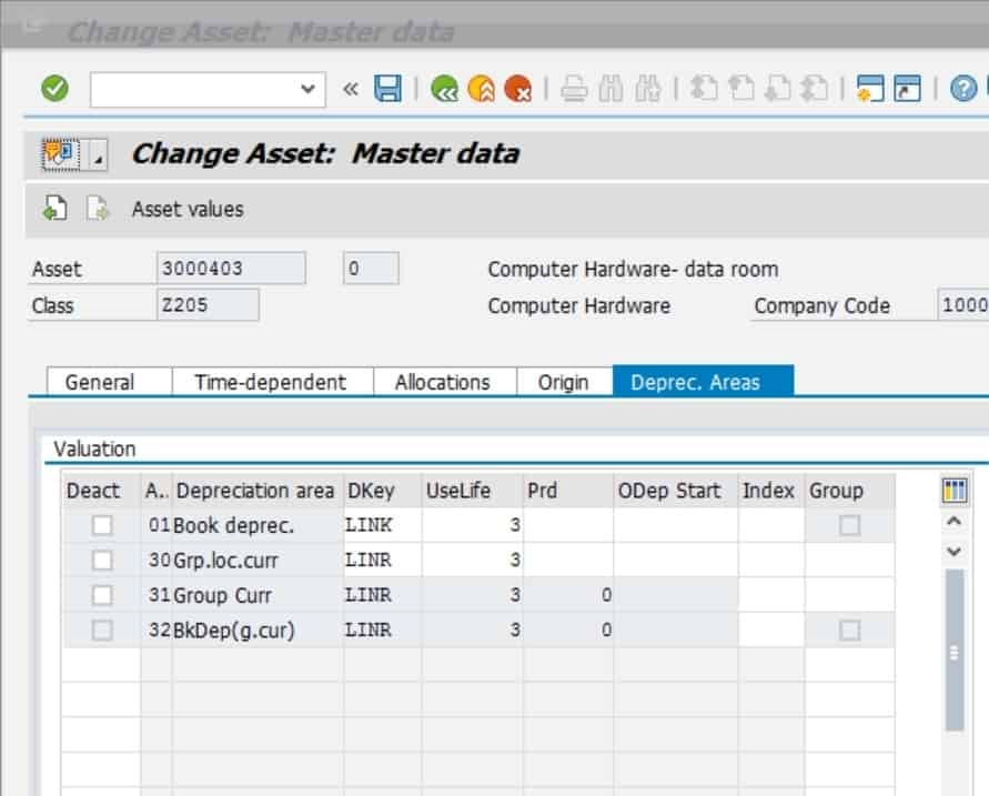 Click on save once you are done and SAP will confirm that the asset has been changed.