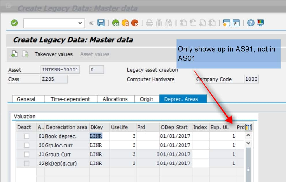 Finally, enter the depreciation key and other info in the depreciation areas tab. Note- Here you will see the Useful life. This was the original useful life at the time of purchase. SAP will calcualte the expired useful life based on the capitalization date. E.g. if the asset was capitalized in 2017 and the year is 2018, then it automatically calcualtes the Exp life as 1. You can manually overwrite this as well.