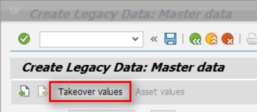 Click on the Takeover values tab to enter the acquisition value, accumulated depreciation etc. of the asset.