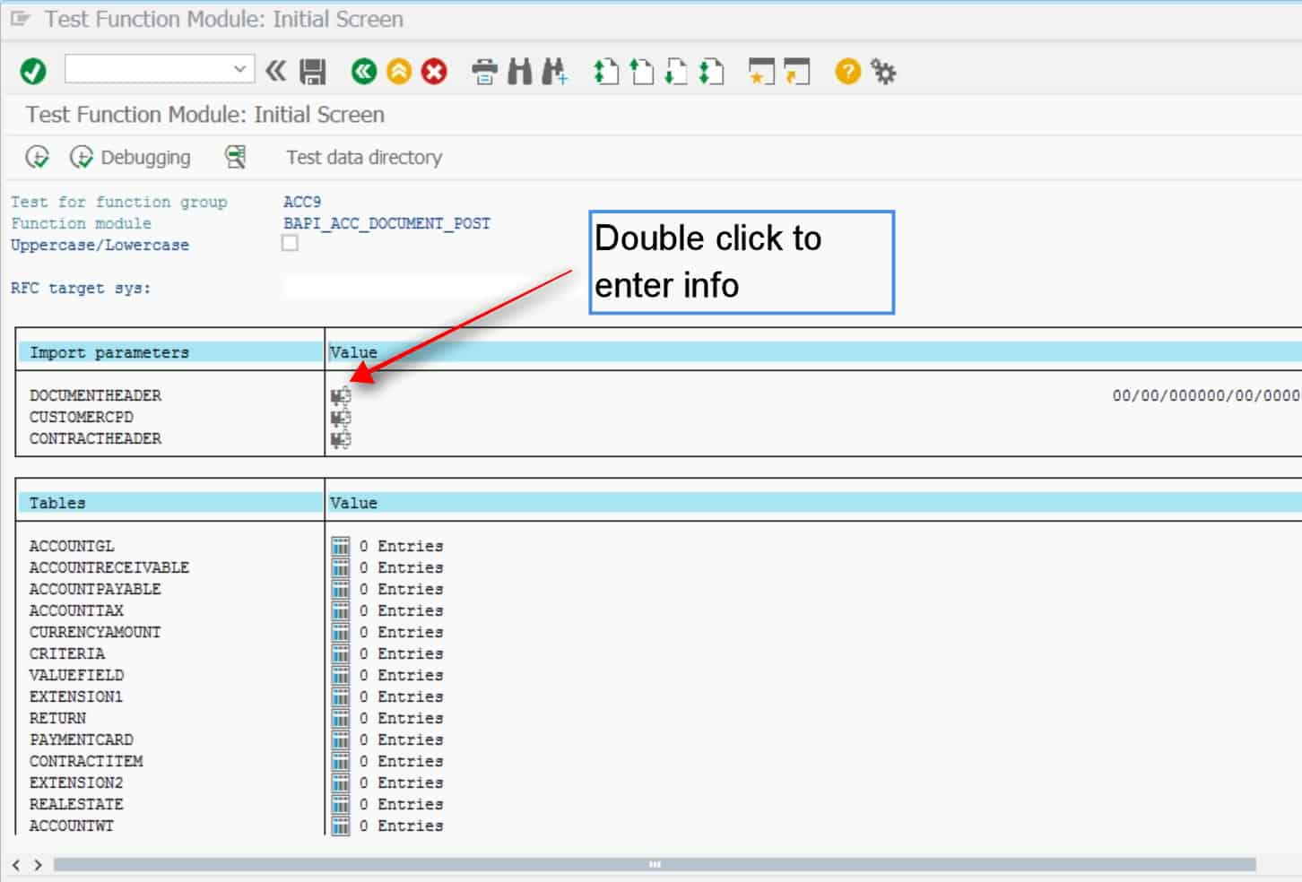 This shows the list of all structures in which you can enter data. The goal here is to enter the same information as what is sent by the interface program. you should first get the data from the program and then enter it in here.  Double click on the import parameters to enter info in there